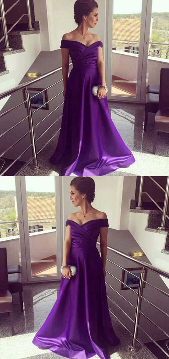 A-Line Off the Shoulder Sleeveless Floor-Length Purple Satin Prom ... 1e5bf20f3cfb