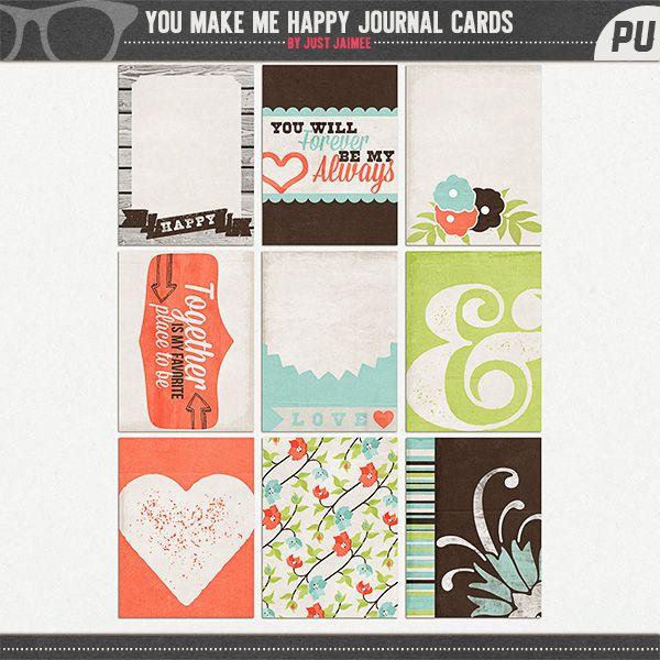 You Make Me Happy Journaling Card Set Freebie