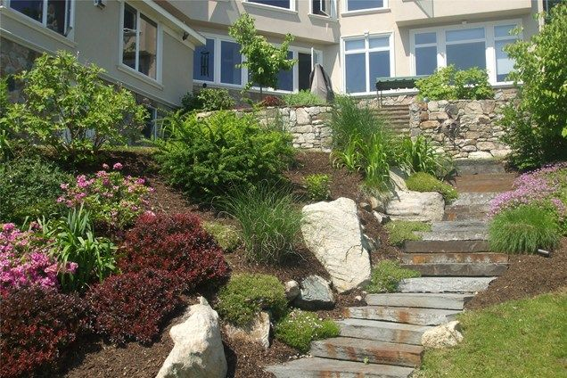 Lakefront steps walkway and path natures view sloatsburg for Lakefront landscaping photos