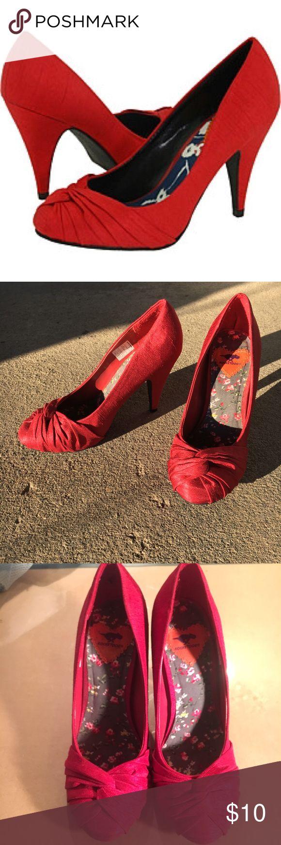 Rocket dog red heels Excellent condition, only worn once! Red Rocket dog heels, 4 inch heel. Fabric twist design Rocket Dog Shoes Heels