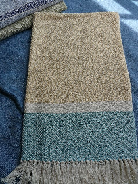Baby Blanket in Buttercup and Seafoam by Kelly Knight