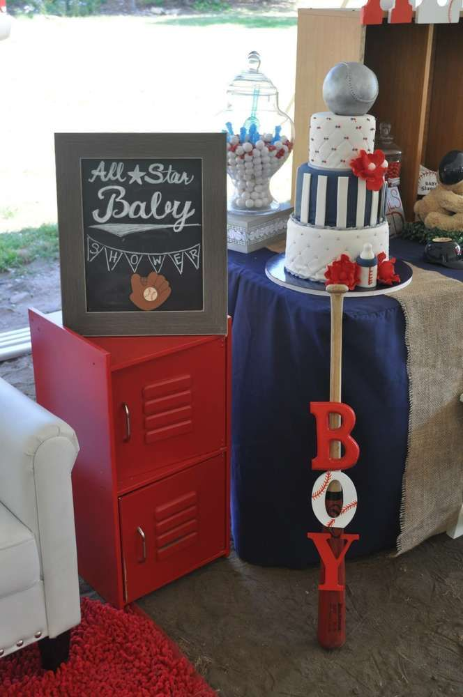 Decorations at a baseball baby shower party! See more party planning ideas at CatchMyParty.com!