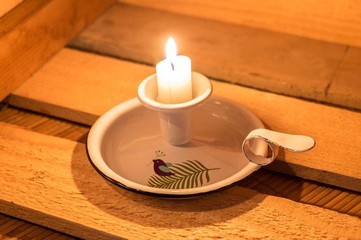 Emalco Enamelware Spring enamel candle holder