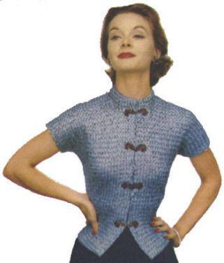 Patterned Stitch Mandarin Top Vintage Knitting Pattern for download Bust 30-34