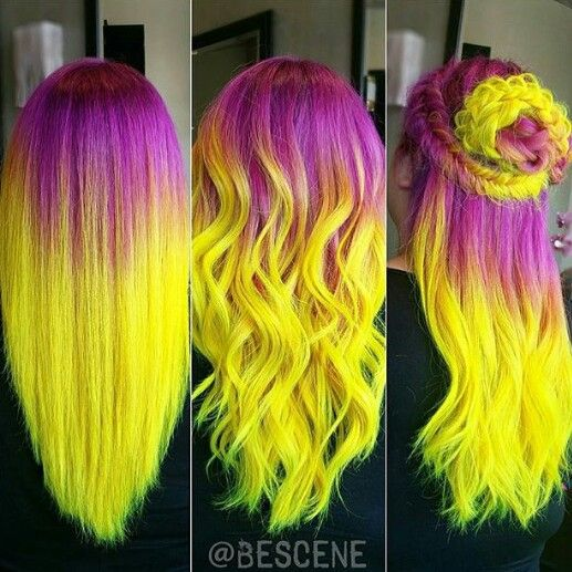 Purple neon yellow ombre dyed hair color idea @bescene