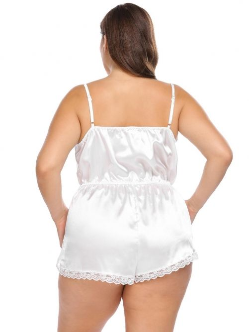 86abcde547 White Plus Size Spaghetti Strap Lace Trim Satin Romper Sleepwear ...