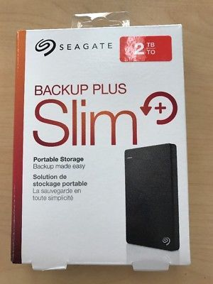 ﹩68.95. New Seagate Backup Plus Slim 2TB External Hard Drive PC/Mac Compatible USB 3.0    Storage Capacity - 2TB, Type - Portable External HDD, Features - Adaptive Memory Technology, Color - Black, Interface - USB 3.0, UPC - 763649052877
