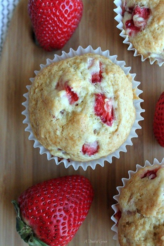 Fresh Strawberry Muffins by A Touch of Grace