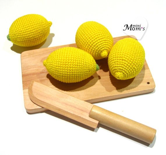 1 Pcs Crochet lemon teether teeth play food kitchen от MiniMoms, $5.00