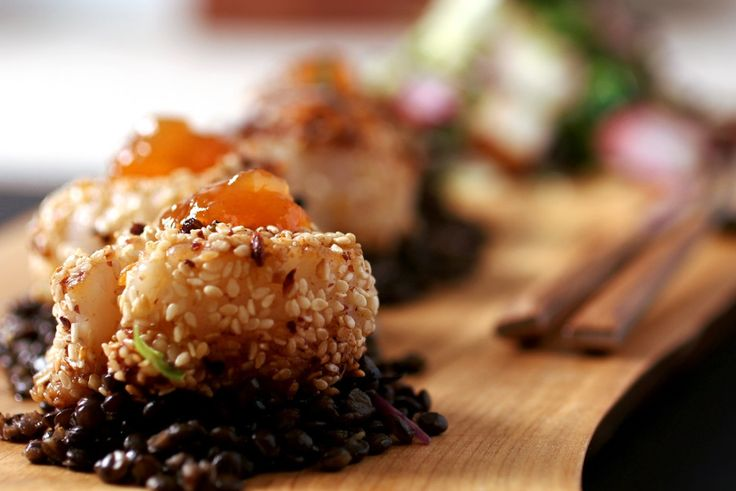 Scallops and Black Beluga Caviar Lentils with Microgreens and Paneer Croutons #McEwansOwn
