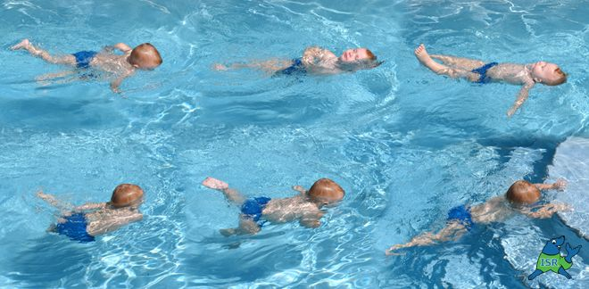 survival: teach your baby to swim/kick himself onto his back to float and call for help if he falls in the water