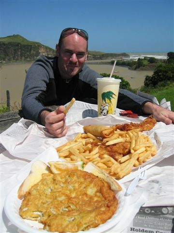 Fish, chips and whitebait fritters! Can't wait to get back to NZ for some Fish and Chips!!