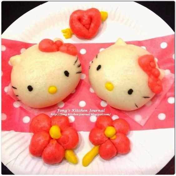 Fong's Kitchen Journal: Hello Kitty Pumpkin Custard Steamed Buns