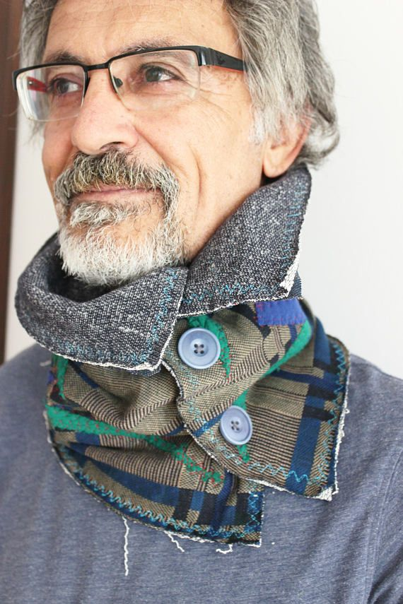 Button infinity scarf Men's double-sided scarf Gray