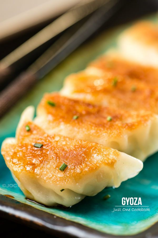 Gyoza | Easy Japanese Recipes at JustOneCookbook.com  * Skip the pork and leave it meatless. If you want the chew of meat, add some soy crumbles. You won't miss the pork.