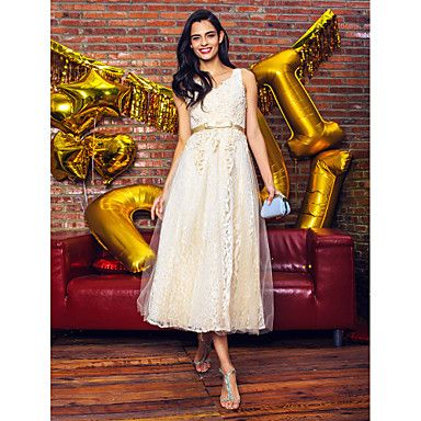 TS+Couture+Cocktail+Party+Prom+Company+Party+Dress+-+Elegant+A-line+V-neck+Tea-length+Lace+Tulle+with+Bow(s)+Lace+–+CAD+$+193.20
