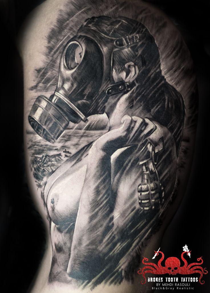 gas mask girl tattoo by Mehdi Rasouli  broken tooth tattoos