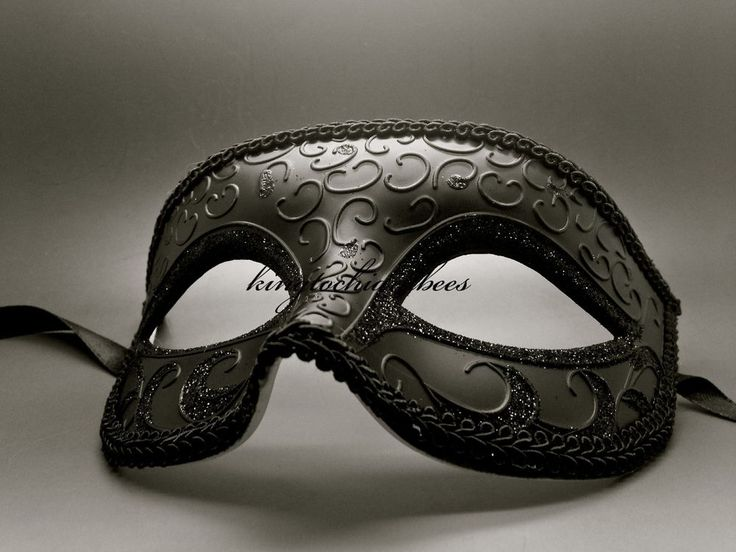 Black Venetian Men Elegant Masquerade Mardi Gras Costume Mask
