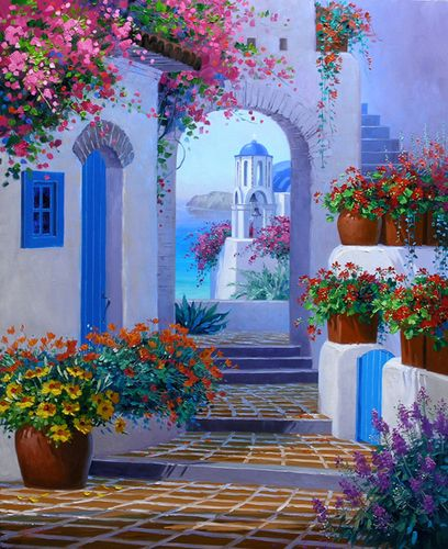 Santorini Song painting by Mikki Senkarik ~ floral art