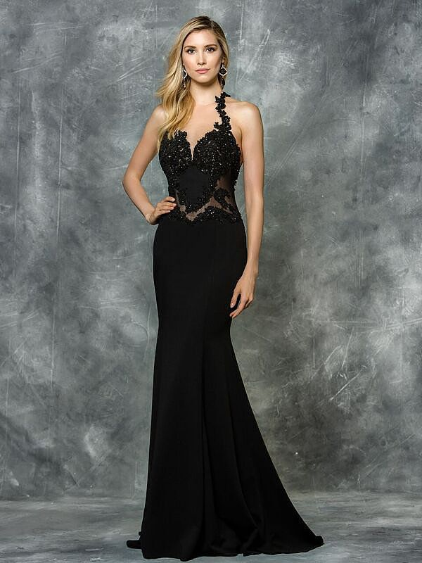 Black fitted Prom dress open back. Find it at Moscatel Boutique