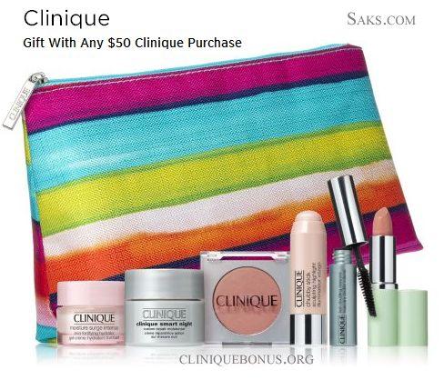 Clinique GWP @ Saks.com - use promo code CLINIQ73 when you spend $50+ on Clinique products. More info: http://cliniquebonus.org/clinique-bonus-time/