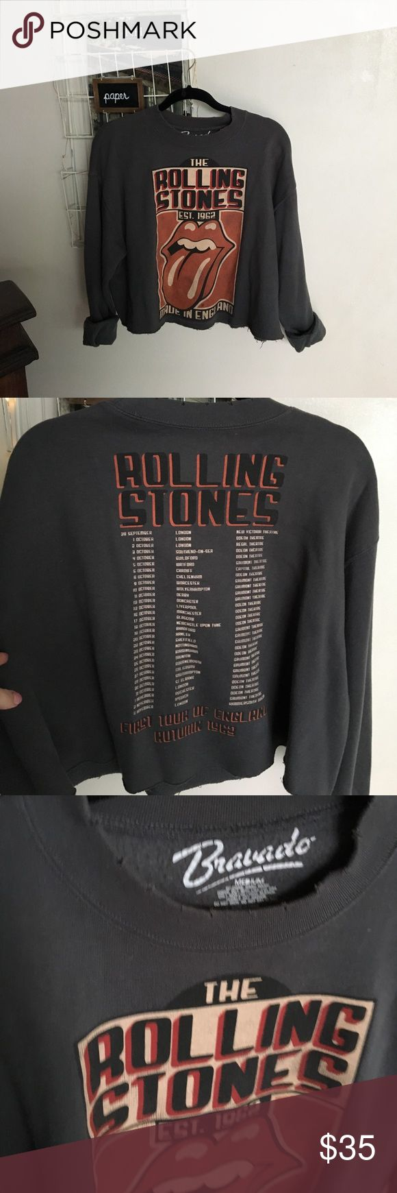 Rolling Stones distressed pullover Purchased at Urban Outfitters and sadly only wore it a few times. Has a distressed look making it have a very vintage feel to it. super warm fleece inside.. back has tour dates and venues. Urban Outfitters Jackets & Coats