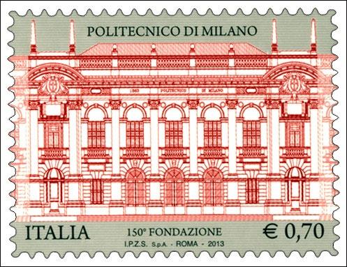 Francobollo celebrativo del Politecnico di Milano, nel 150° anniversario della fondazione