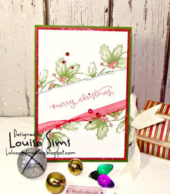 Spellbinders 3D shading stamps - Hollies & Berries  Knock me down with a feather ... a CAS card from me! ~ Louise Sims Papercrafter  #spellbinders #neverstopmaking