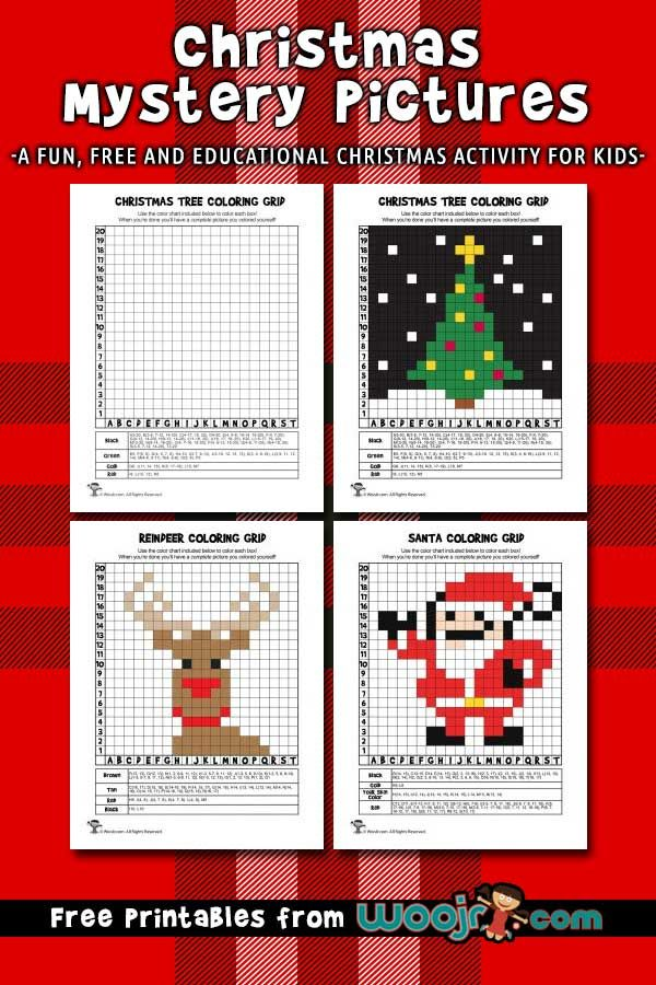 Christmas Mystery Pictures Grid Coloring Pages Woo Jr Kids Activities Christmas Mystery Pictures Christmas Mystery Mystery Pictures