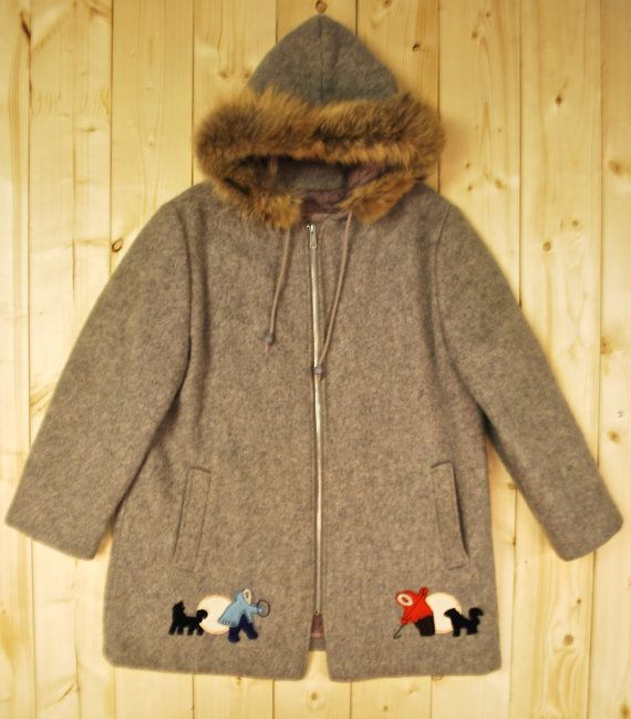 Vintage 1980's INUIT JACKET / PARKA Hooded Fox by PontiacDryGoods