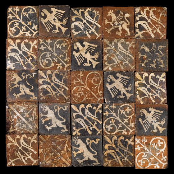 A panel of tiles from the Church of Saint Etheldreda, West Quantoxhead England, Somerset Late 13th-14th century c. 70 x 70 cm
