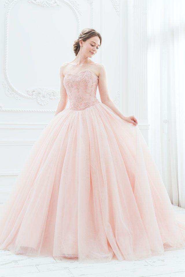 スモーキーなピンクが落ち着いた大人の愛らしさ。ふんわりとしたチュールのバレリーナカラードレス|SS5982SP
