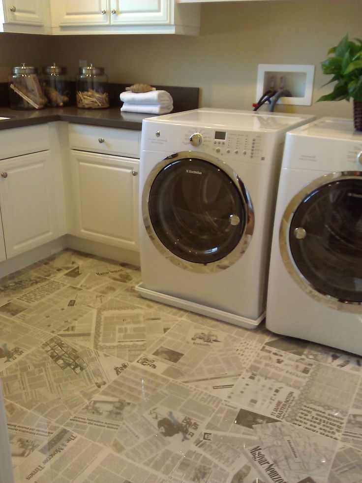 Newspaper Tile Floors So Cute For This Laundry Room For