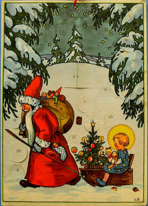 Saint Nicholas and the Christ Child - Vintage Advent Calendar - 1940's?: