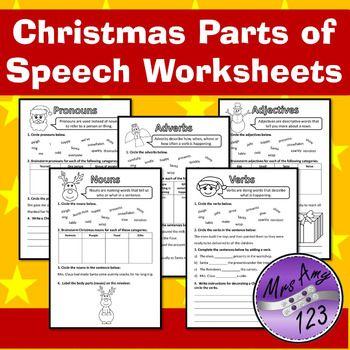 Christmas Parts of Speech (Grammar) Worksheets- Nouns, Ver