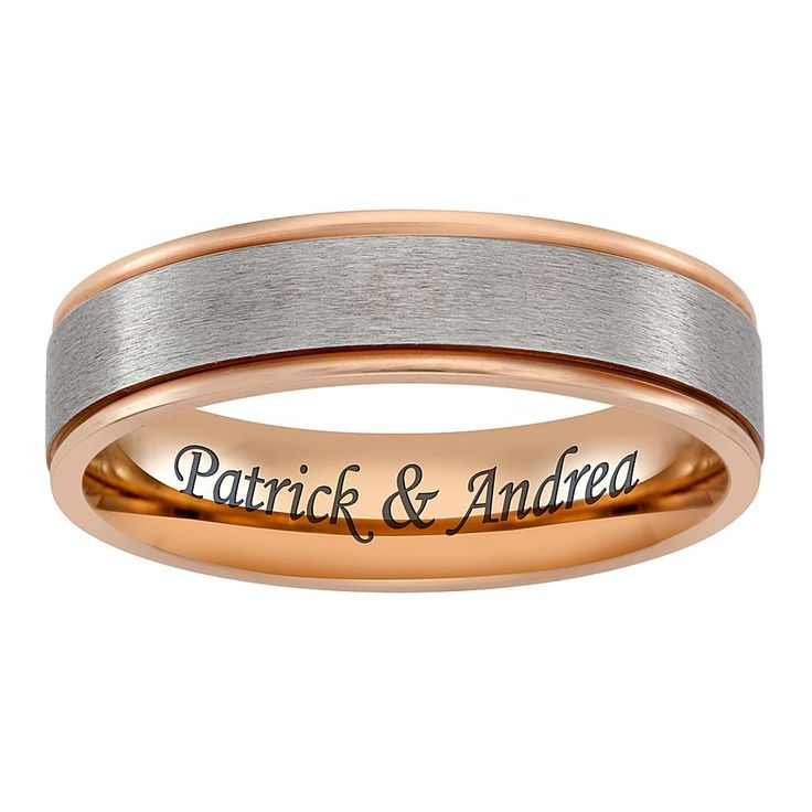 Titanium Two Tone Rose Gold Engraved Message Band