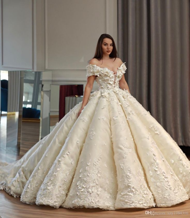 Saudi Dubai Princess Wedding Dress Off Shoulder Beads 3d Floral Appliques Tule B Wedding Dresses Princess Wedding Dresses Turkish Wedding Dress Ball Gowns Wedding