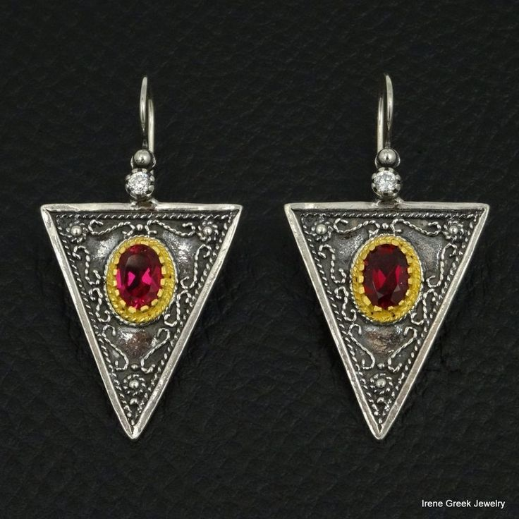 LUXURY RUBY CZ ETRUSCAN 925 STERLING SILVER & 22K GOLD PLATED GREEK ART EARRINGS #IreneGreekJewelry #DropDangle