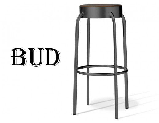 BUD tabouret de bar assise bois structure acier