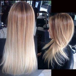 Golden toasted blonde with ombre platinum