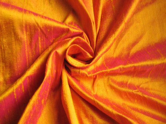 Gold Fuchsia iridescent 100% dupioni silk fabric by DesignersNeeds