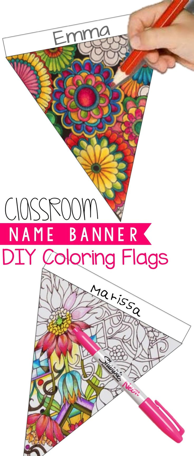 Beginning of the year activity - DIY Coloring Banner (editable)