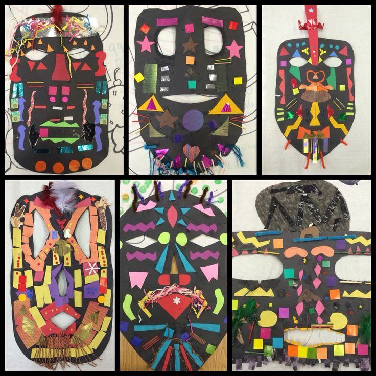 Pablo Picasso African Masks - special education art lesson project - medium: collage and sculpture - vocabulary: symmetry