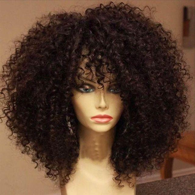 Brésilienne Non Transformés Vierge Cheveux Pleine Perruque de Lacet Crépus Bouclés Avant dentelle Perruque de Cheveux Humains 100 de Cheveux Humains Perruques Pour Africain américain