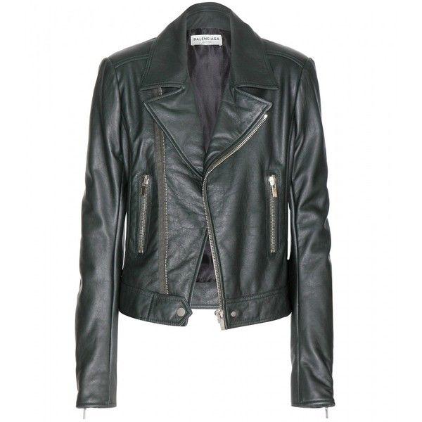 Balenciaga Leather Biker Jacket ($2,375) ❤ liked on Polyvore featuring outerwear, jackets, coats, balenciaga, coats & jackets, green, balenciaga jacket, green motorcycle jacket, green leather jacket and 100 leather jacket