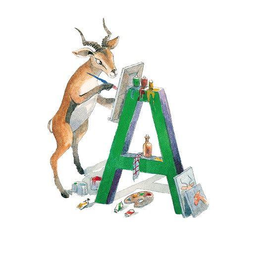 ABC alfabeto carte lettera un antilope carta Nursery Decor