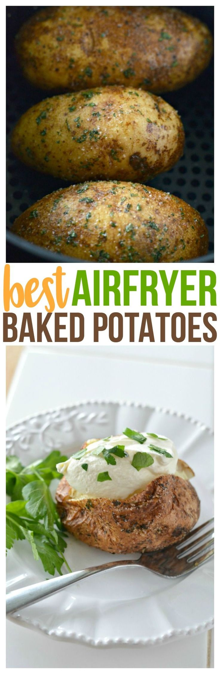 How to Make a Baked Potato - Air Fryer Baked Garlic Parsley Potatoes for the best side dish recipe in just 35 minutes for your family meals. via @CourtneysSweets