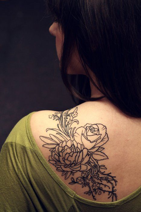 Floral outline (crab apple blossoms, peony, rose, babies breath) tattoo on the back/shoulder | No Artist Information