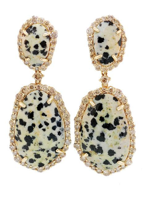 leopard jasper and champagne diamond earrings by phillips frankel - love for fall