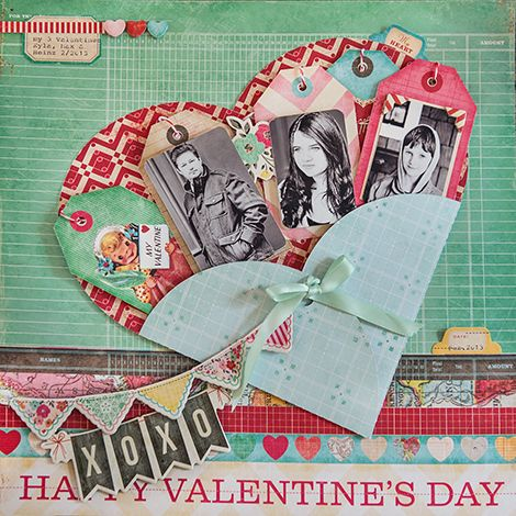 Happy Valentine's Day...a cleverly folded paper heart holds multiple photos and memorabilia...so cute.